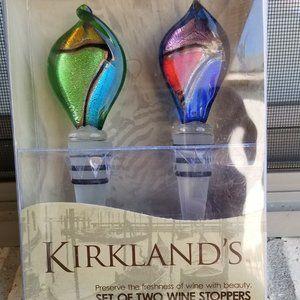 Kirklands New Set of 2 Blown Glass Wine Stoppers